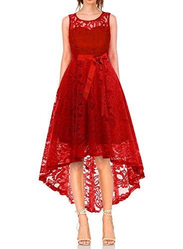 MONYRAY Damen Elegant Schwingendes Kleid aus Spitzen Asymmetrisch Ärmellos Unregelmässig Abendkleider Festlich Cocktailkleider Ballkleid Pinup Rockabilly Party Brautjungfern Kleid Rot S