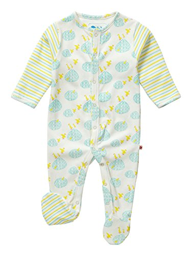 Piccalilly Organic Cotton Yellow and Blue Unisex Puddle Duck Print Footed Sleepsuit