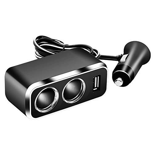 LULUKEKE Autokennzeichen, Dual USB Charging Ports,2-Way Cigarette Lighter Splitter,80W 12V/24V Cigarette Lighter Adapter mit Ambient Light -