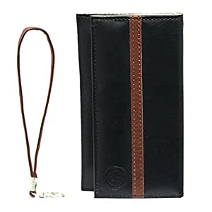 Jo Jo A5 S Series Leather Wallet Universal Pouch Cover Case For Celkon Q40 Plus Black Dark Brown