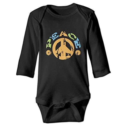 Friedenszeichen Mit Den Blumen Neugeborenen Mädchen Jungen Kind Babyspielanzug Langarm Infant Kleinkind Shirts(12 Mt,Schwarz) -