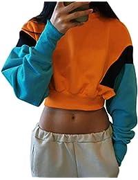 ISSHE Sudaderas Cortas Mujer Sudaderas Chica Sudadera Oversize Juveniles Tallas Grandes Camisetas Basicas Manga Larga Cuello
