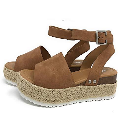 Sandalias Mujer Verano 2041 cáñamo Fondo Grueso Sandalias Punta Abierta Cuero Fondo Plano Zapatos...