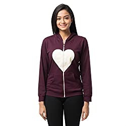 Nite Flite Womens Zip-up Cotton Hoodie with Heart Graphic