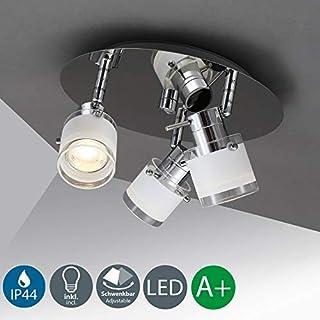 B.K.Licht LED Ceiling lamp 3 x 5W, Bathroom Lighting with Rotating spotlights IP44 Waterproof, Warm White Light, GU10, 400lm