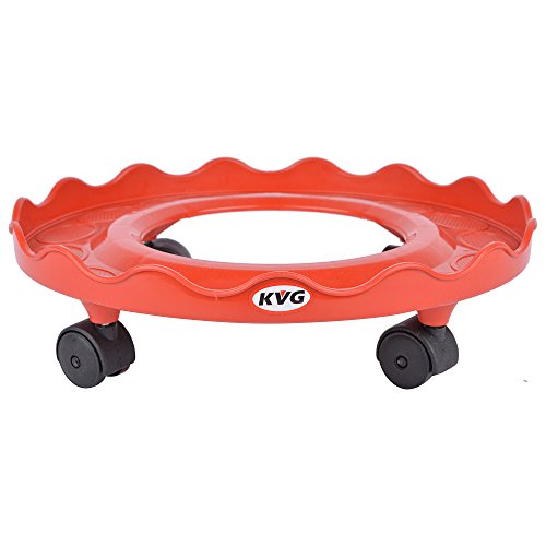 KVG Plastic Gas Cylinder Trolley With Wheels / Gas Trolly / Lpg Cylinder Stand, 28.8 cms, Round, Red  available at amazon for Rs.249