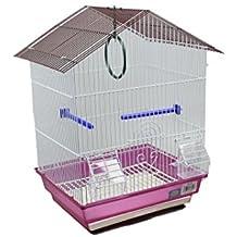 DZL jaula para pajaros con comederos,palos y columpios (34.5X28X49.5) (prupra)