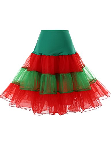 icoat Reifrock Unterrock Petticoat Underskirt Crinoline für Rockabilly Kleid Green-Red M ()
