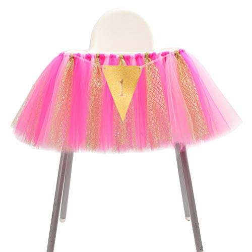 NUOBESTY Tüll Tisch Rock Baby 1. Banner Tutu Tisch Sockelleiste Abdeckung Tischdecke für Baby 1. Geburtstag Party Dekoration (Pink Rosy Gold) (Geburtstag Abdeckung Hochstuhl)