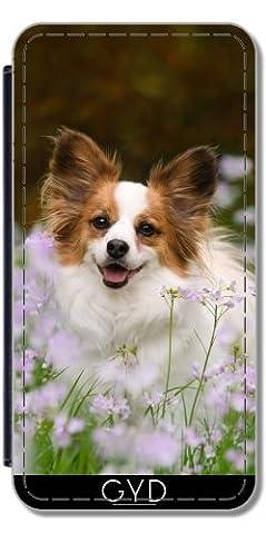 Leder Flip Case Tasche Hülle für Huawei P8 - Papillon Hund Niedlich Porträt by Katho Menden