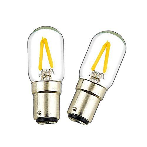 Luxvista Ba15d LED 2W Birne Doppelkontakt Bajonett Sockel T22 Kaltweiß 6000 Nähmaschine LED Beleuchtung Ersatz für 15W Halogenbirne 2-Stück (Nicht Dimmbar) (Bajonett-sockel)