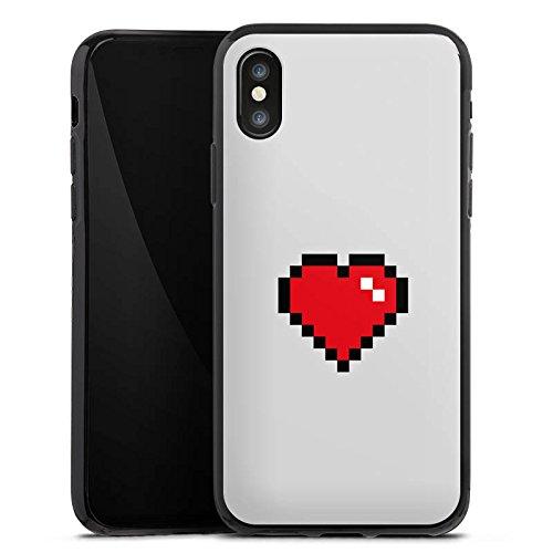 Apple iPhone X Silikon Hülle Case Schutzhülle 8-Bit Heart Herz Liebe Silikon Case schwarz