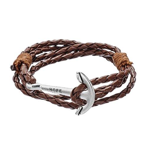 Jiayiqi Femmes Mode D'Ancrage Scarved Bracelets Bracelet De Cuir Tressé À La Main NO 5