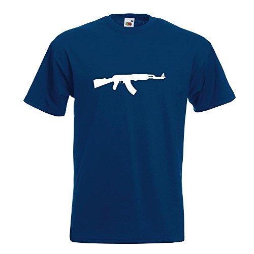 KIWISTAR - AK 47 Kalaschnikow T-Shirt in 15 verschiedenen Farben - Herren Funshirt bedruckt Design Sprüche Spruch Motive Oberteil Baumwolle Print Größe S M L XL XXL Navy
