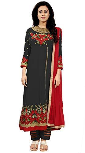 Ethnic Yard Women's Black Faux Georgette Semi-Stitched Anarkali Salwar Suit (EY-F1250-Black)