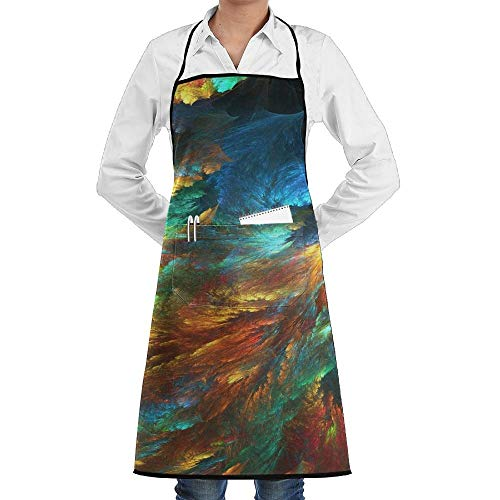Lady Psychedelic Kostüm - Psychedelic Fractal Colorful Schürze Lace Unisex Mens Womens Chef Adjustable Polyester Long Full Black Cooking Kitchen Schürzes Bib With Pockets For Restaurant Baking Crafting Gardening BBQ Grill