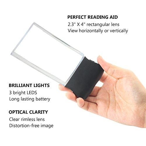 LED 2X großes rechteckiges Leselupe Handlupe mit Licht - 2,3 x 4 randlose Verzerrung-Free-Objektiv für Low Vision, Senioren, Bücher, Seiten, Zeitschriften, Zeitungen und Karten (Groß rechteckig) - 5