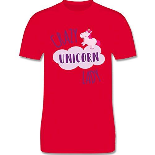 Statement Shirts - Crazy Unicorn Lady - Herren Premium T-Shirt Rot