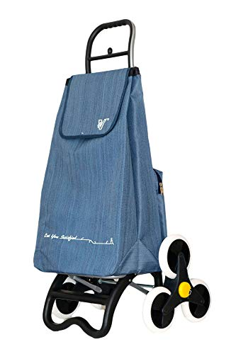 Travelhouse T30 - Profi Einkauftstrolley, Einkaufswagen, Shopping Trolley, Volumen 57 Liter, 60x25x37cm, (Blau, 60cm)