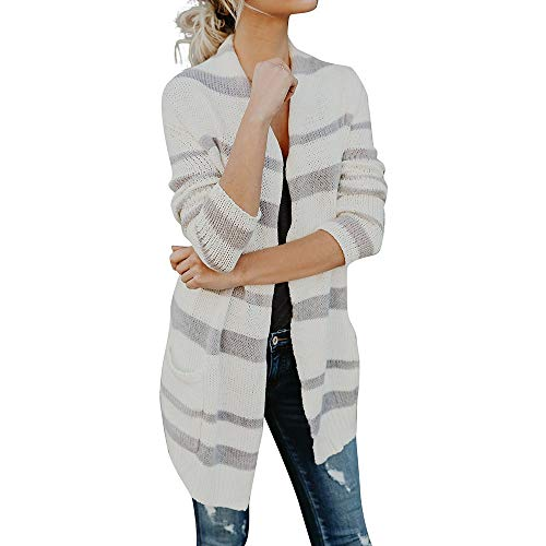 (Sweatshirt Bluelucon Damen Gestreift Gestrickt Langarmshirt Langarm Blusen Pullover Tops Casual Basic)