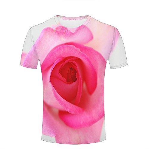 Mens 3D Printed T-Shirts Glamorous Pink Rose Graphics Couple Tees B