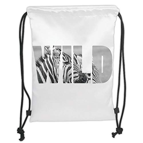 Drawstring Backpacks Bags,Zebra Print,Word Wild Over Zebras Picture Safari Animals Adventure Travelling Theme Art,Black White Soft Satin,5 Liter Capacity,Adjustable String Closure, -