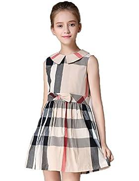 MiXiaoJie Mädchen kleiden Mädchen sleeveless Plaid Bowknot Sommerkleider