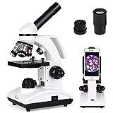 TELMU Microscope-40x-1000x Magnification & 360 Rotatable Objective Double LED Illumination and Phone Holder