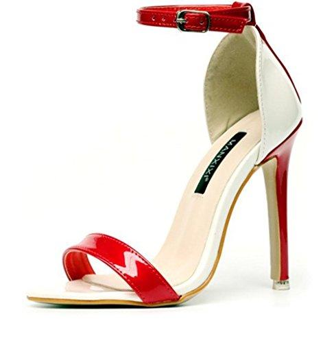 YCMDM Boucles d'oreilles à talons ouverts à main forte à la main Chaussures de randonnée à la mode Red