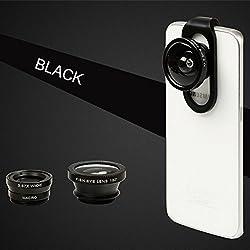 Selfie Cam Lens, BUTEFO Universal 4 in 1 iPhone Lens Camera Phone Lens Kit Clip on Fish Eye Lens + 2 in 1 Macro Lens + 0.67x Wide Angle Lens + 0.4x Supper Wide Lens Camera Lens Kit for Smart Phones