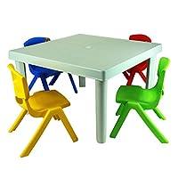 Simpa Junior Plastic Multicolour Table & 4 Chair Set - Indoor & Outdoor Furniture Nursery Activity Study Garden Furniture.