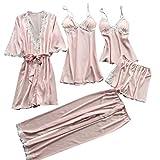 ZEELIY Ensemble De Nuit Cinq PièCes pour Pyjamas Grande Taille pour Dames  Femmes Chemise De Nuit 84151b875ec