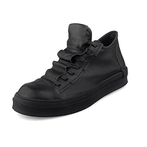YIXINY Chaussures de Sport S-758 Plaque Chaussures Homme PU + Plaque en Tissu Chaussures Plat Avec Casual Chaussures à lacets Blanc, Noir Route et Chemin ( Couleur : Noir , taille : EU42/UK8.5/CN43 )