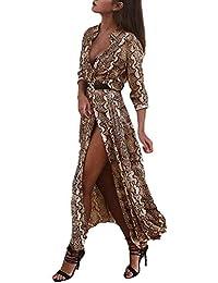Kleider Damen Elegant Lang Vintage Mode Schlangenmuster Gedruckt  Freizeitkleider Herbst Winter Langarm Kleidung Revers Loose Casual c2f96a1c6d