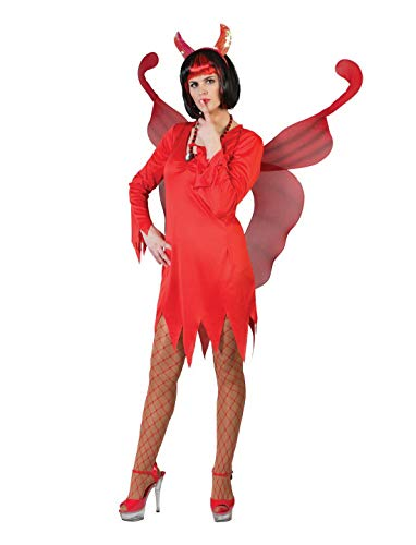 n Frauen Kostüm, Minikleid Horror Teufelin, Lady Devil Carrie, perfekt für Halloween Karneval und Fasching, L, Rot ()