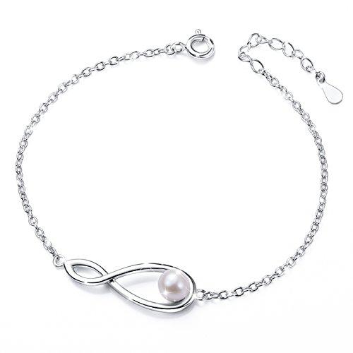 DAOCHONG Inspirational Bangle 925 Sterling Silber Infinity Armband Liebe Symbol Charme Einstellbar Armband Frauen Mädchen Muttertagsgeschenk Ideen