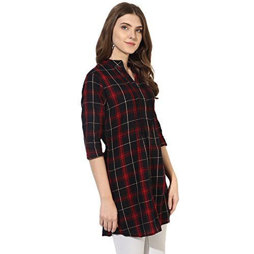 One Femme Women's Plaid Check Print Tunic (OFTNT012_Multicolor 23_Medium)
