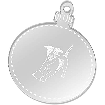2 x 75mm 'Playing Jack Russell' Engraved Clear Baubles (CB00041305)
