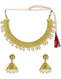 Zaveri Pearls Jewellery Set For Women (Gold, White) (ZPFK5355)