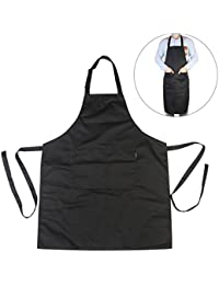 PIXNOR Tablier bavette réglable noire de cuisine de Chef avec poches
