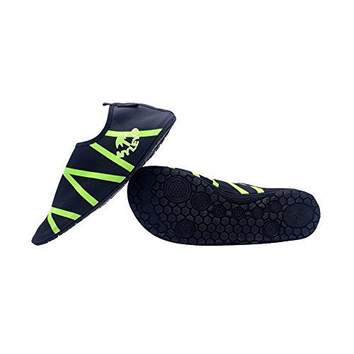 amazmall Unisex Sport acquatici Pelle Scarpe a piedi nudi sandali per spiaggia nuoto Yoga Green