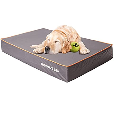 The Dog's Bed, Premium Orthopedic Memory Foam Waterproof Dog Beds, Many Colors/Sizes, Helps Ease Pain of Arthritis & Hip Dysplasia, Therapeutic & Supportive Bed, Washable Quality Oxford Fabric Cover - Extra Large 117 x 71 x 15cm (Grey With Orange
