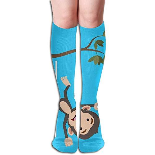 jiilwkie Baby Monkey Falling Design Elastic Blend Long Socks Compression Knee High Socks (65cm) for Sports