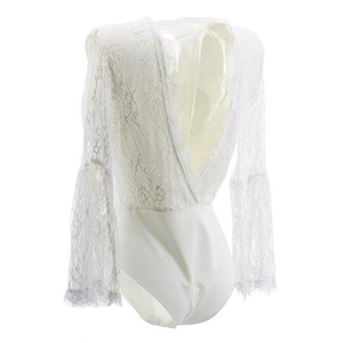 Körper Shirt Frau Gestickte Blumen mit V-Ausschnitt Backless Long Sleeve T-Shirt Weiß