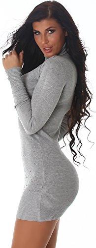 Jela London Damen Strickkleid Pullikleid Longpulli Bolero-Optik Rollkragen & Strass (Einheitsgröße 34 36 38) Grey