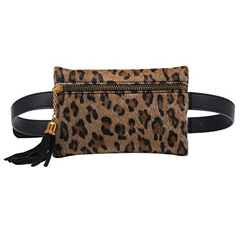 Jeune Lueur - Riñonera de Piel para Mujer, Bolsa de Viaje para teléfono móvil, cinturón con Borla extraíble con Mini Bolso Leopardo Small