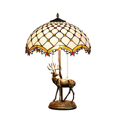 JAY 16 Zoll Tiffany Tischlampen-Barock Pendelleuchte Quaste Schreibtisch, Kunsthandwerk Glasmalerei Bernstein Perle, Retro viktorianischen Stil Wohnzimmer Schlafzimmer Nachttischlampen -