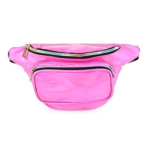 AOLVO Modische glänzende Retro-Packs, Unisex Holografische Fanny Pack Festival Party Neon Glitzer Brusttasche Bauchtasche Reisetasche mit verstellbarem Gürtel hot pink