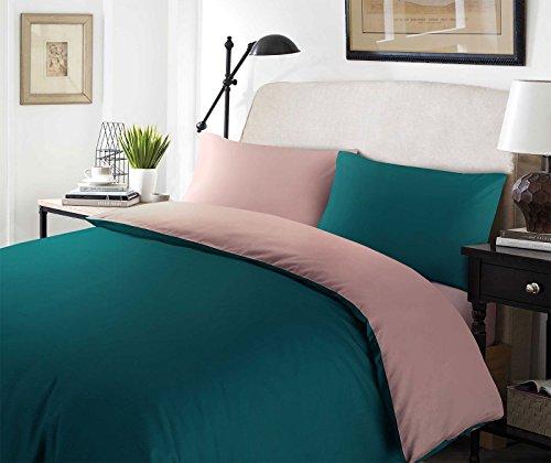Nimsay Home Bettbezug-Set aus Polyester-Baumwoll-Mischgewebe, Teal/Rose, Doppelbett - Lila Tröster Und Grün