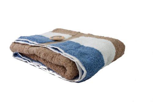 Gözze Duschtuch, 100% Baumwolle, 70 x 140 cm, New York, Streifen, Marone/Weiß/Fjord, 555-9700-5 (Streifen-badelaken)